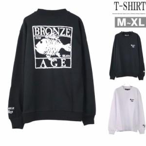 トレーナー メンズ BRONZE AGE フィッシュプリント 長袖Tシャツ ロンT 魚 クルーネック Q020124-13