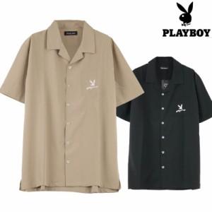 オープンカラーシャツ メンズ 開襟シャツ 半袖 サマーシャツ PLAY BOY プレイボーイ Q020617-03