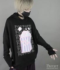 送料無料/[APPAREL]/ディオラート/【POP!ポップコーン】 猫耳プルオーバー ブラック×ピンク (L) ゴスロリ・パンク/Deorart