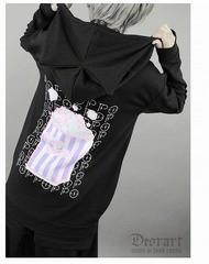 送料無料/[APPAREL]/ディオラート/【POP!ポップコーン】 猫耳ジップパーカー ブラック×ピンク (M) ゴスロリ・パンク/Deorart