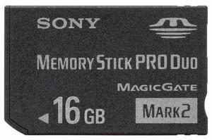 """SONY 著作権保護機能搭載IC記録メディア""""メモリースティック PRO デュオ""""  16GB MS-MT16G T1"""