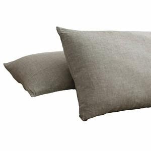 オーガニックコットン洗いざらしの綿100% 枕カバー2枚  グレー ピロケース