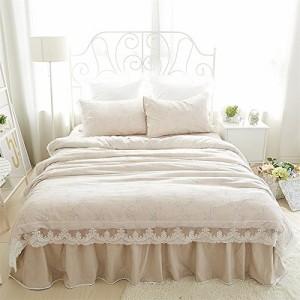 DEWEL テンセル生地 純綿100% 布団カバー 3点セット セミダブル 四季適用 バイアス 純天然 高級 高質感 小柄 ベッドスカ