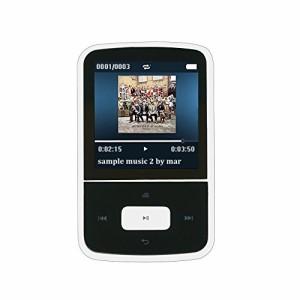 AGPtek G05W Bluetooth搭載 クリップ 8GB MP3プレーヤー 音楽/FMラジオ イヤホン付属 マイクロSDカード64GBに対応 ホワイト