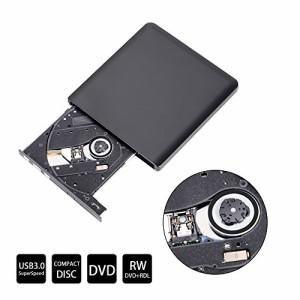 KINDEN DVDドライブ USB3.0 外付けポータブル Windows/Mac両対応 CD/DVD/VCD書き込み専用 USBケーブル付き 超薄型-ブラック