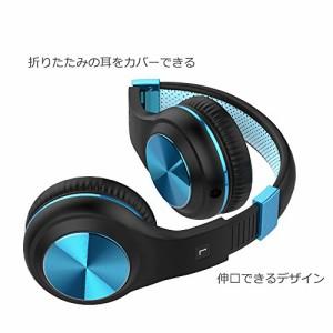 WMSJP 有線ヘッドフォン 密閉型 折りたたみ式 高音質 マイク付き ハンズフリー通話可能 ブラック&ブルー