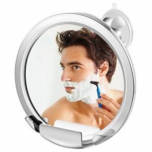 Jerrybox 風呂鏡 曇らない鏡 浴室鏡 シャワーミラー 曇り止め鏡 髭剃りやメイク お風呂ミラー 強力吸盤付き 360度回転(1X)