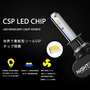 Nighteye H1 Led ヘッドライト車検対応 超高輝度 CSP社製LEDチップ搭載 6500k 50W (25W x2) 8000LM (4000LM x2) 一体式 2本セット 3年保