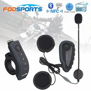 FODSPORTS インカム バイク Bluetooth インターコム ワイヤレス バイク通信機 1200m 5人同時通話 防水 ワイヤレスインカム ツーリング 技