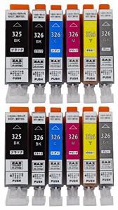 ZAZ BCI-326+325/6MP 6色セット×2パック(計12個入り) canon 互換インク ICチップ付き 残量表示可 対応機種:PIXUS MG8130 MG6130 MG52
