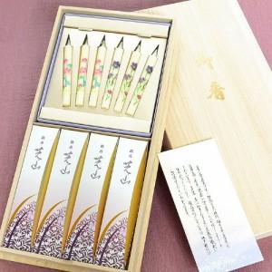 (包装 御供 のし付き )日本香堂 線香 贈答用 【銘香 芝山 桐箱 絵ろうそくセット】
