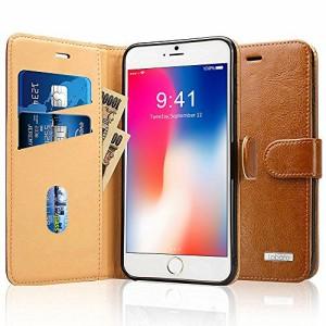 Labato iPhone8ケース 手帳型 アイフォン8ケース 本革レザー TPU スタンド カードホルダー 財布型 スタンド機能 手作り ハンドメイド 耐