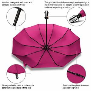 RAINLAX 折りたたみ傘 ワンタッチ自動開閉傘 10本傘骨 耐強風 晴雨兼用 撥水性 梅雨対策 直径103センチ ローズ