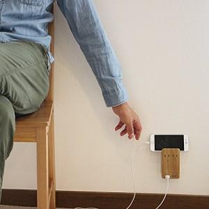 Fargo インテリア おしゃれ 壁さしタイプ 電源タップ TAPKING USB WALL 雷サージガード ベージュウッド AC2個口 USB2ポート