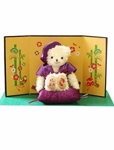 喜寿祝い 紫ちゃんちゃんこ の お祝いテディべア 喜寿 長寿祝い 鶴亀 77歳のお祝い プティルウ製