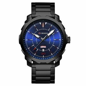 アナログ 腕時計 ブラック 曜日 日付 カレンダー メンズ ウォッチ 防水 CURREN 8266 ブラック ブルー
