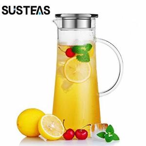 """""""susteas 耐熱ガラスポット 麦茶ポット ガラスポット 耐熱 1.5リットル 麦茶 冷蔵庫 直火 水出し 茶ポット 冷水筒 麦茶ポット ガラスピ"""""""