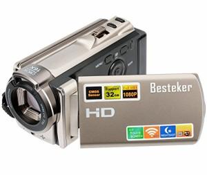 """""""ビデオカメラ Besteker デジタルビデオカメラ HD 1080P 2400万画素 WIFI ナイトビジョン機能 16倍デジタルズーム ビデオカムコーダー """""""