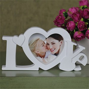 All Smiles 写真立て プレゼント フォトフレーム おしゃれ 北欧 LOVE ホワイト 恋人 カップル 母の日 結婚 祝い ハート デザイン 家族