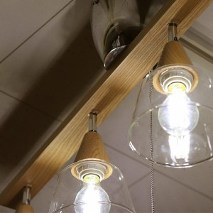 4灯シーリングライト ウッドバークリヤーガラスシェード |  LED電球対応 照明 天井 天井照明 スポット ライト シーリング(R004)