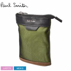 ポール スミス ポーチ レディース メンズ ネックポーチ カーキ PAUL SMITH 6281 EMAMIX 本革 レザー ショルダー 収納 ブランド おしゃれ