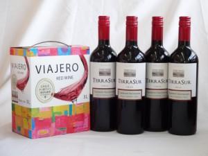 チリ産大容量赤ワイン飲み比べセット(ヴィアヘロ 赤ワイン ミディアムボディ 3000ml  テラ・スル カベルネ  ミディアムボディ 750ml×4本