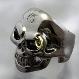 Guillaume ギローム シルバー リング 指輪 メンズ ゴールデンアイスカル ブラック 送料無料 Gu-R-013