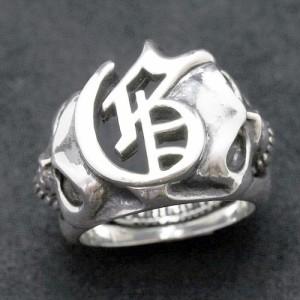 Guillaume ギローム シルバー リング 指輪 メンズ ロゴスカル 髑髏・ドクロ・骸骨 Gu-R-018