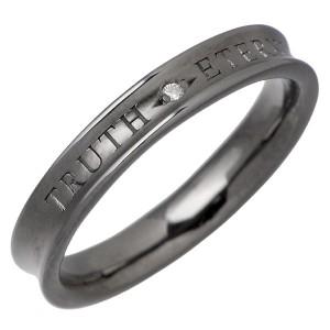 PMR ピーエムアール シルバー リング 指輪 メンズ レディース ダイアモンド&メッセージ ブラック RM-PMR364DIA-BK