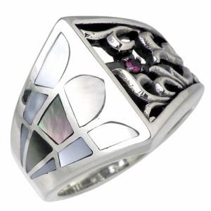 SAINTS セインツ シルバー リング 指輪 メンズ レディース アラベスク&シェル 7月 誕生石 SSR-51