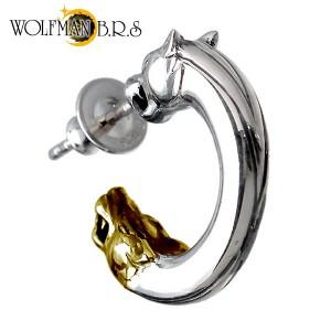 WOLFMAN B.R.S ウルフマン シルバー ピアス メンズ レディース ウルフダブルヘッド1G フープ型スタッド 1個売り片耳用狼 WO-E-5-1G