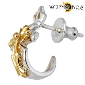 WOLFMAN B.R.S ウルフマン シルバー ピアス メンズ レディース ブレードスタッドゴールドコーティング 1個売り片耳用 WO-E-9G