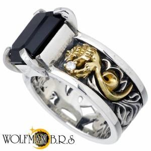WOLFMAN B.R.S ウルフマン シルバー リング 指輪 メンズ K18ウルフウルフオーバーレイ W WO-R-057K18
