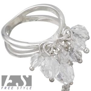 FREE STYLE フリースタイル シルバー リング 指輪 レディース グリッターチャーム GSR-807