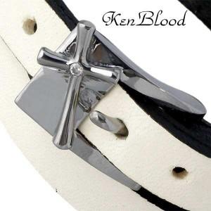KEN BLOOD ケンブラッド シルバー ブレスレット メンズ レザー& ホワイト ot KB-KP-86WT
