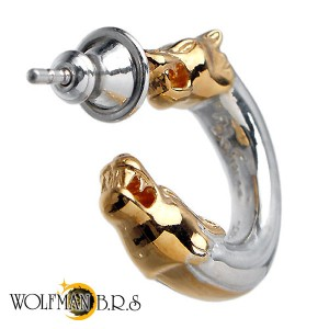 WOLFMAN B.R.S ウルフマン シルバー ピアス メンズ レディース ウルフダブルヘッド2G フープ型スタッド 1個売り片耳用狼 WO-E-5-2G