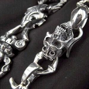 FAL エフ.エー.エル シルバー ウォレットチェーン メンズ 8パーソンスクリーム 髑髏ドクロ骸骨 FA-WC-0003