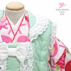 [七五三に大人気のブランド「SEIKO MATSUDA」被布着物セット]グリーン/白/ピンク/薔薇/プロデュース/七五三/三歳/送料無料