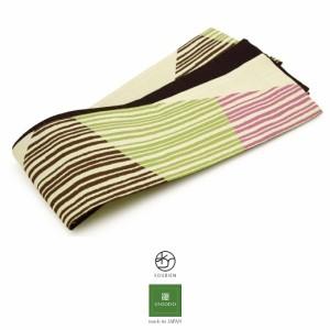 半幅帯 ブランド 芸艸堂 UNSOUDO ピンク 茶色 緑 白 アイボリー カラフル ふくれ織 縞 カジュアル 女性用 レディース 細帯 半巾 仕立て上