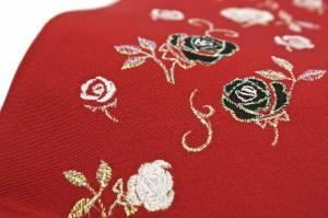 [成人式にオススメ☆][夢二浪漫の正絹バラ刺繍重ね衿]赤/正絹/振袖/袴/メール便配送OK