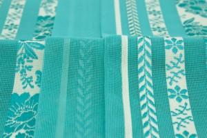 【浴衣や夏の着物にオススメ!涼やかな桐生織半幅帯】青緑色/ターコイズブルー/椿/ツバキ/縞/紗/メッシュ/夏向け/日本製/仕立て上がり