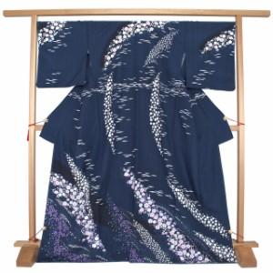 [フォーマルにオススメ☆格式高い絵羽文様・辻が花の洗える訪問着]紺/藍色/袷/絵羽柄/辻ヶ花/国内染め仕立て上がり/送料無料