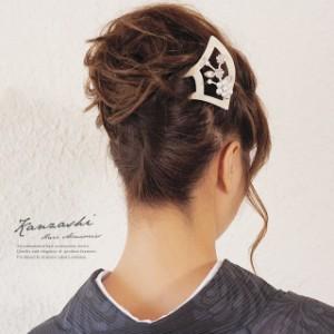 [フォーマルな着物にオススメ♪優雅で高貴なバチ型簪]黒/白/金/花