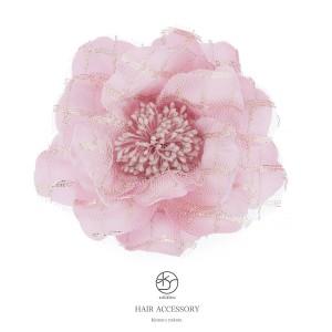 [成人式の振袖にオススメ☆][チュールレース花びらの薔薇の髪飾り]ピンク/浴衣/ヘアアクセサリー