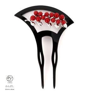 高級感と気品溢れるバチ型簪/かんざし/髪飾り/結婚式/和装/黒/赤/シルバー/南天/髪留め
