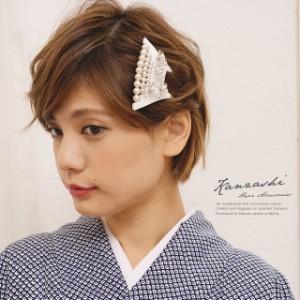 高級感と気品溢れるバチ型簪/髪飾り/結婚式/和装/白/シルバー/花/ラインストーン/パール/髪留め