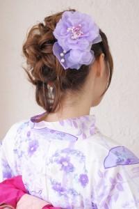[浴衣にオススメ☆][フワッフワのオーガンジーのボリューミィな髪飾り]紫/パールビーズ/ラメ
