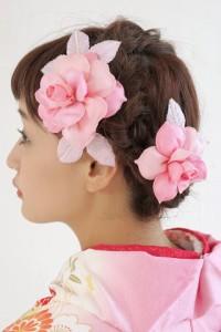 [ぷっくり花びら薔薇髪飾り2個セット]ピンク/ラメ/パールビーズ/成人式/振袖/浴衣/袴