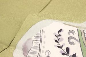 【仕立て上がり正絹九寸名古屋帯】黄緑/グリーン/草花/石垣/抽象画/紋意匠/三通柄/お太鼓柄/名古屋仕立て/カジュアル/なごや帯/送料無料
