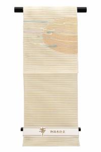 【カジュアルな夏向け八寸名古屋帯】薄茶色/ピンク/灰青/波/半円/曲線/透かし織り/絽/綴れ/三通柄/お太鼓柄/仕立て上がり/松葉仕立て